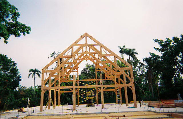 Hearthstone log and timber frame homes timber frame project for Wood frame house in florida