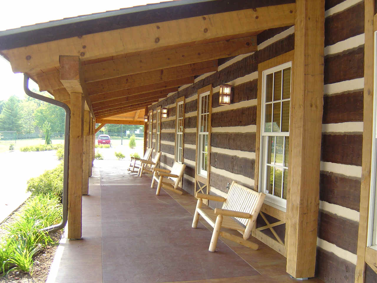 Hearthstone log and timber frame homes for Side porch designs