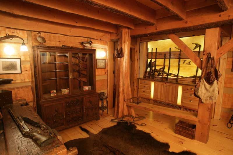 Hearthstone log and timber frame homes for Gun room design