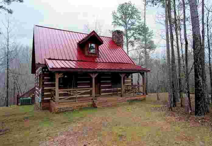 Front Of Cabin. The Cabinu0027s Red Tin Roof ...